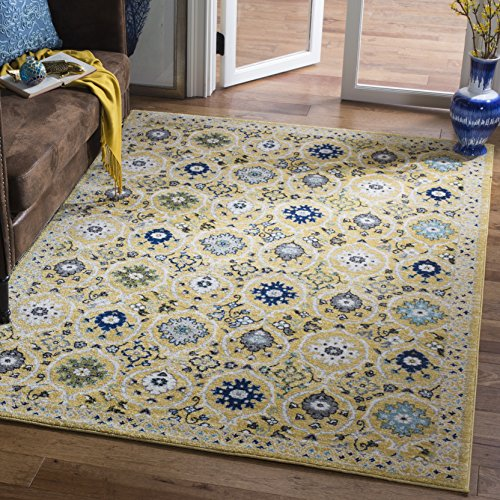 Safavieh Evoke Collection EVK210B Contemporary Gold and Ivory Area Rug (3' x 5')