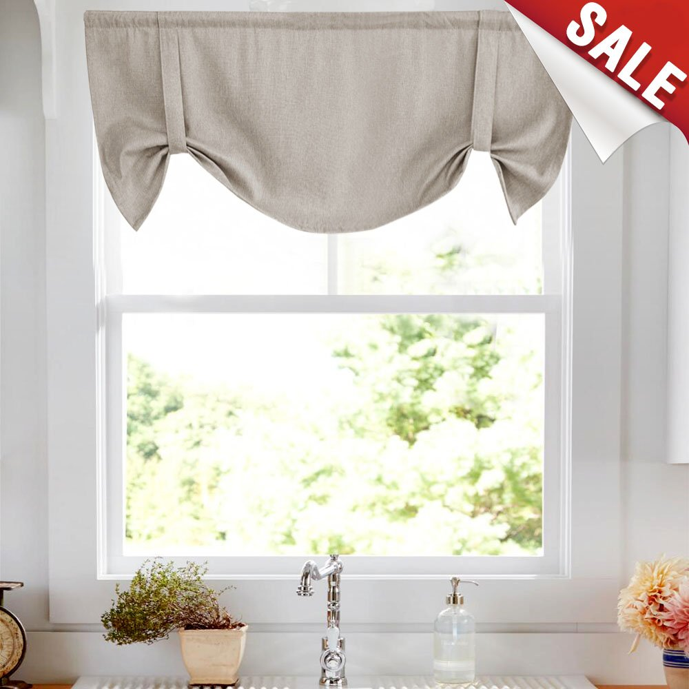 Tie-up Valances for Windows Linen Textured Room Darkening Adjustable Tie Up Shade Window Curtain Rod Pocket Tie-up Valance Curtains 18 Inches Long (1 Panel, Greyish Beige) by jinchan (Image #1)