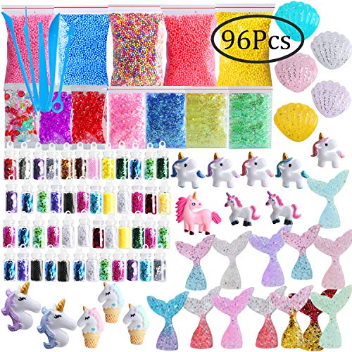 Slime Supplies Kit Slime Add for Mermaid, Outee 96 Pack Bead Charms Kit for Slime Fish Bowl Beads