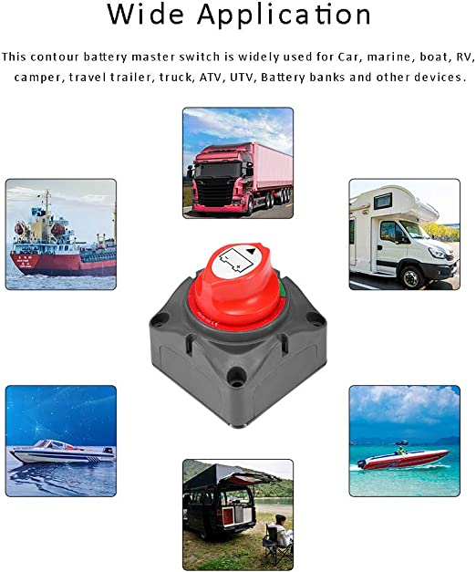 Battery Isolator Switch for Boat 12V//24V Waterproof Battery Cut Off Switch for Car Marine Yacht RV ATV Vehicles Verdelife Master Switch Battery