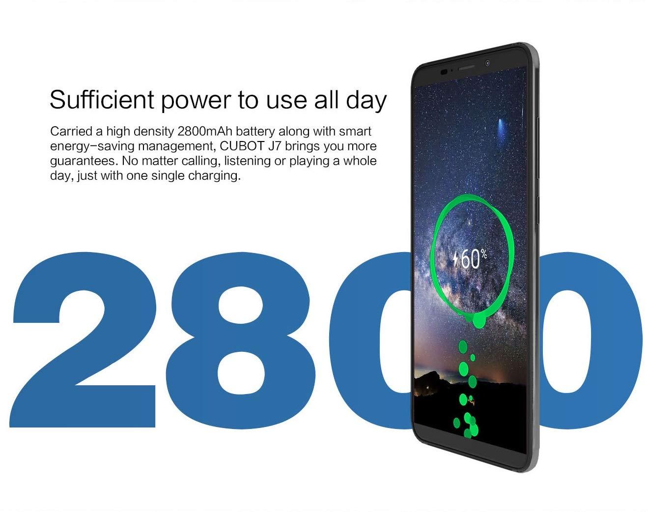 CUBOT J7 Smartphone Pas Cher Android 9.0, Telephone Portable Debloqué 3G Triple Emplacement 2 Nano SIM + 1 MicroSD, Moblie MT6580 2Go RAM+ 16Go Rom Dual 13 + 2MP Camera FaceID-Vert