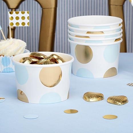 Helado cartón puntos color azul claro oro 8 pieza – Vasos de papel helado cartón isbecher