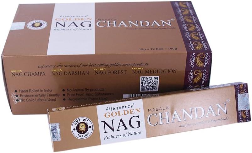 Varillas de incienso Golden Nag Chandan 180g aroma a madera de sándalo 12 cajitas fragancia ambientador