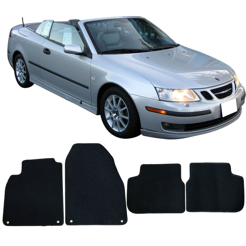 Floor Mat Fits 2003-2011 Saab 9-3 | OEM Factory Fitment Floor Mats Carpet Front & Rear Black 4PC Nylon by IKON MOTORSPORTS | 2004 2005 2006 2007 2008 2009 ...