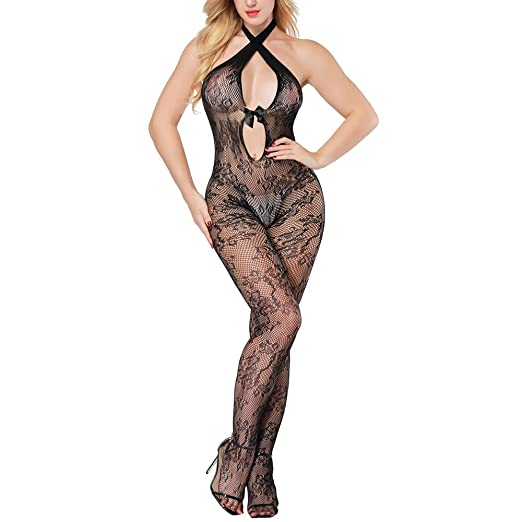 0d05517f3e Sexy Lingerie for Women for Sex Halter Bowknot Fishnet Floral Crotchless  Bodystocking Leotard Open Crotch Stretch