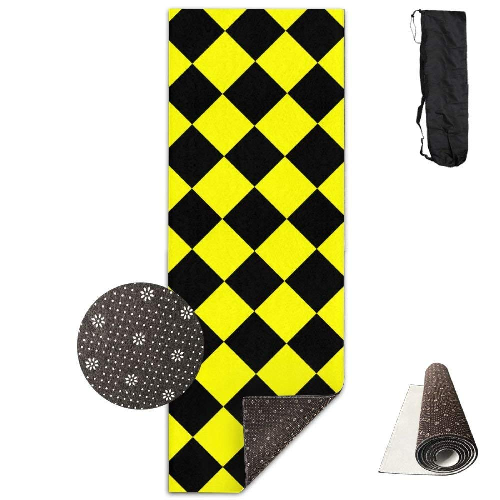 Checkerboard Yellow And Black Grid Deluxe,Yoga Mat Aerobic Exercise Pilates Anti-slip Gymnastics Mats