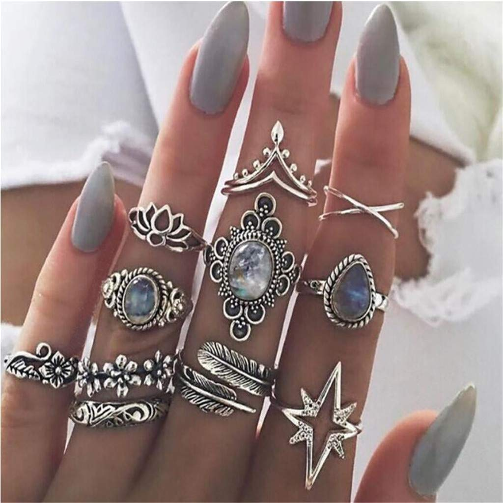 Yiduore 11 Pcs Vintage Knuckle Ring Set for Women Girls Stackable Rings Set Finger Rings Jewelry Gifts