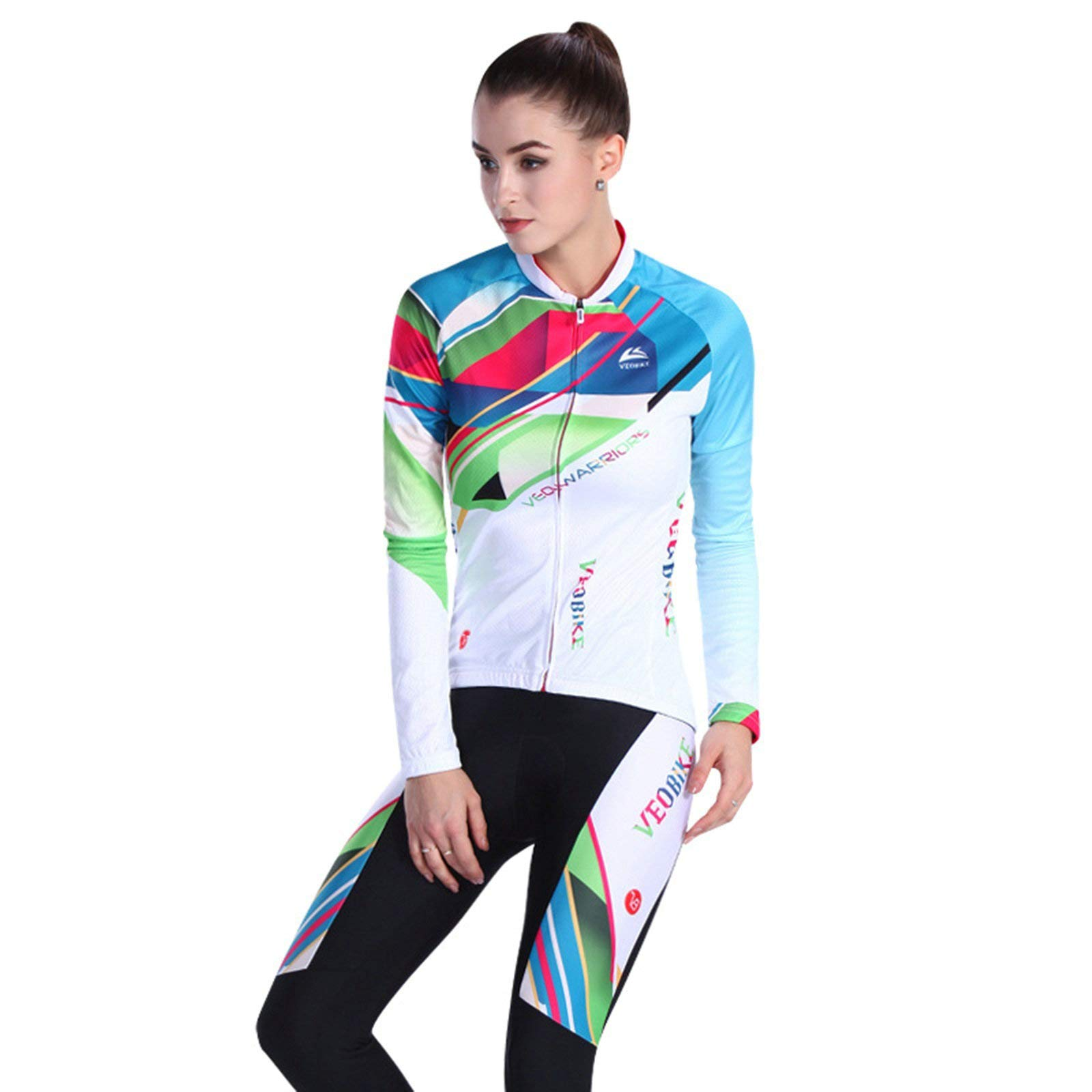 Aooaz Women Cycling Set Shirt and Tights Multicolor Design Size M Cycling Accessory
