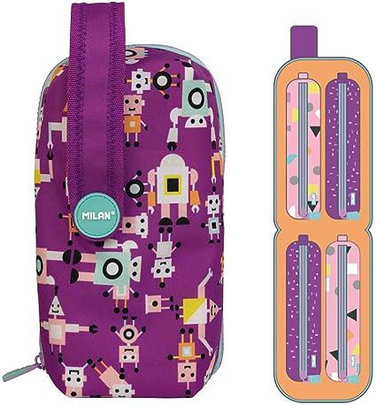 MILAN Kit 4 Estuches con Contenido Happy Bots Lila: Amazon.es: Oficina y papelería