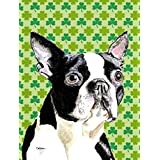 Caroline's Treasures SC9280GF Boston Terrier St. Patrick's Day Shamrock Portrait Flag, Small, Multicolor