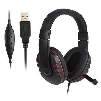 ICOCO Auriculares Gaming, USB Auriculares de Juego de Sonido Envolvente con Micrófono Orejeras de Reducción