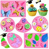 Amurgo 6 Pieces of Fondant Molds, Butterfly Mold, Leaf Mold, Mini Flowers and Rose Flower Silicone Mold, for DIY Cake Decoration, Candy Chocolate Fondant Polymer Clay Soap Crafting Project(Pink)