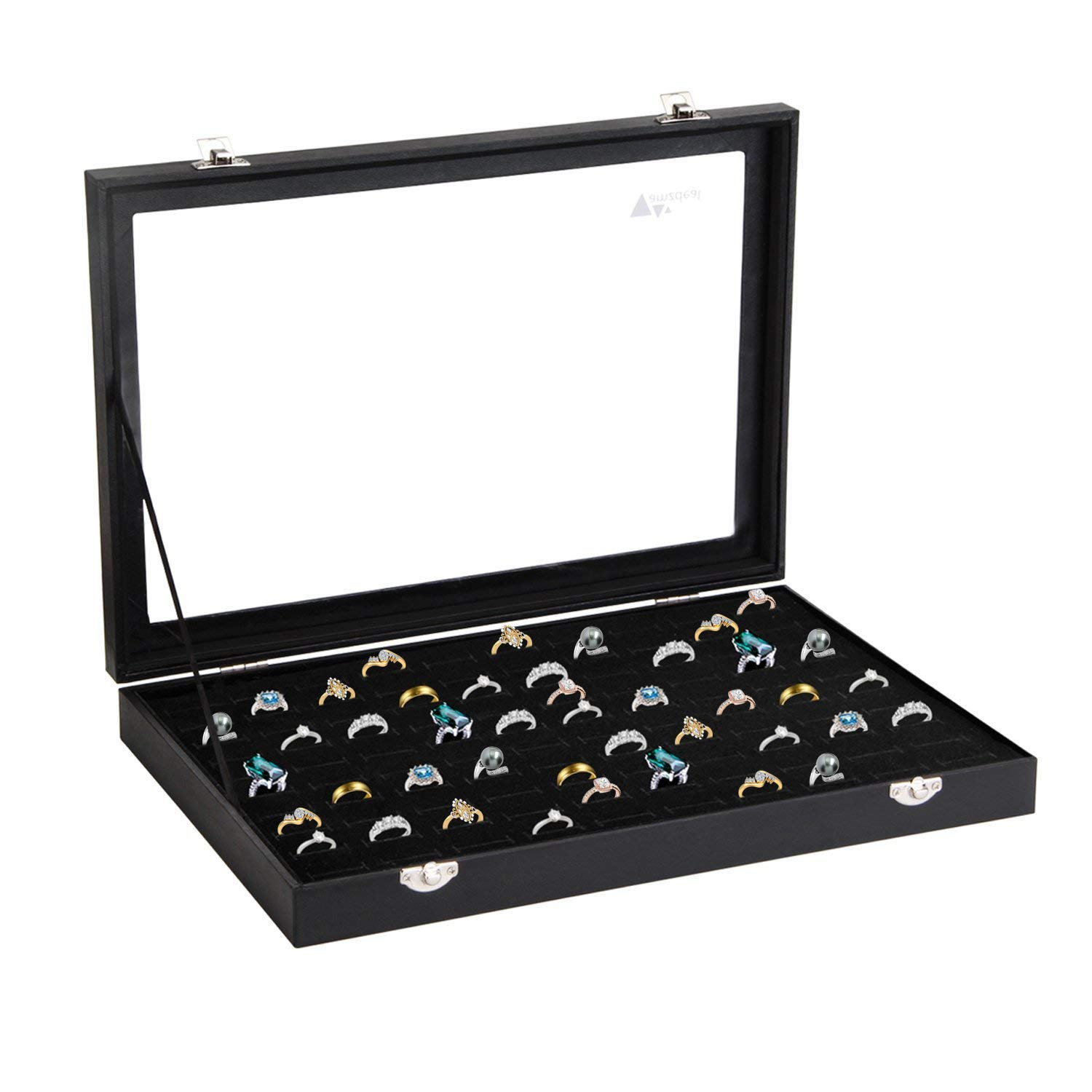 amzdeal Ring Box 100 Slot Jewelry Display Storage Collector Earring Showcase Ring Tray Organizer Holder