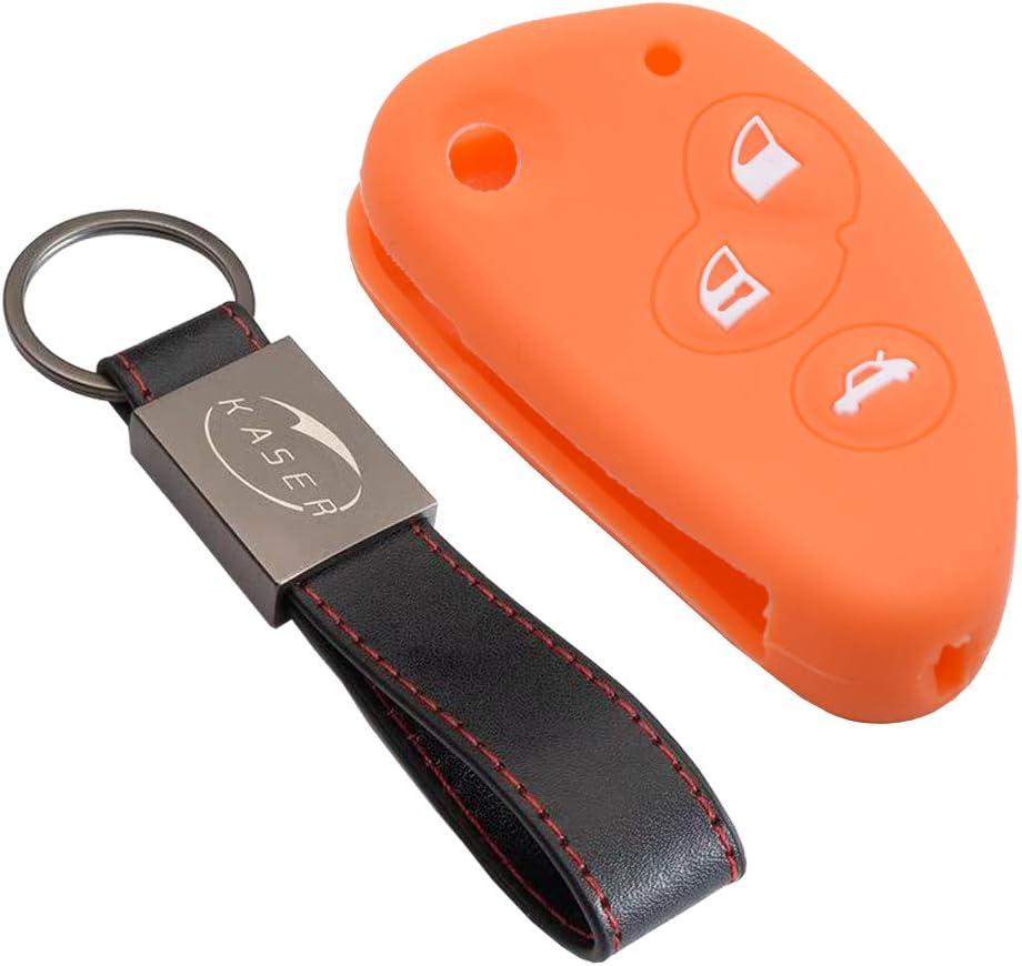 Orange Premium Silicone Car Key Cover Car key Case Shell With Keychain for Alfa Romeo Car Key Fob 147 156 159 164 Alfetta Brera Giulia Spider Remote Control Car key Protection