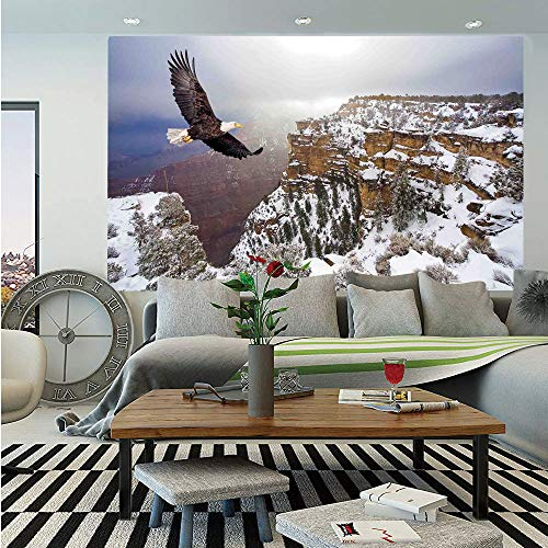 - SoSung Wildlife Decor Removable Wall Mural,Aerial View of Bald Eagle Flying in Snowy Grand Canyon Rocky Arizona USA,Self-Adhesive Large Wallpaper for Home Decor 66x96 inches,White Brown