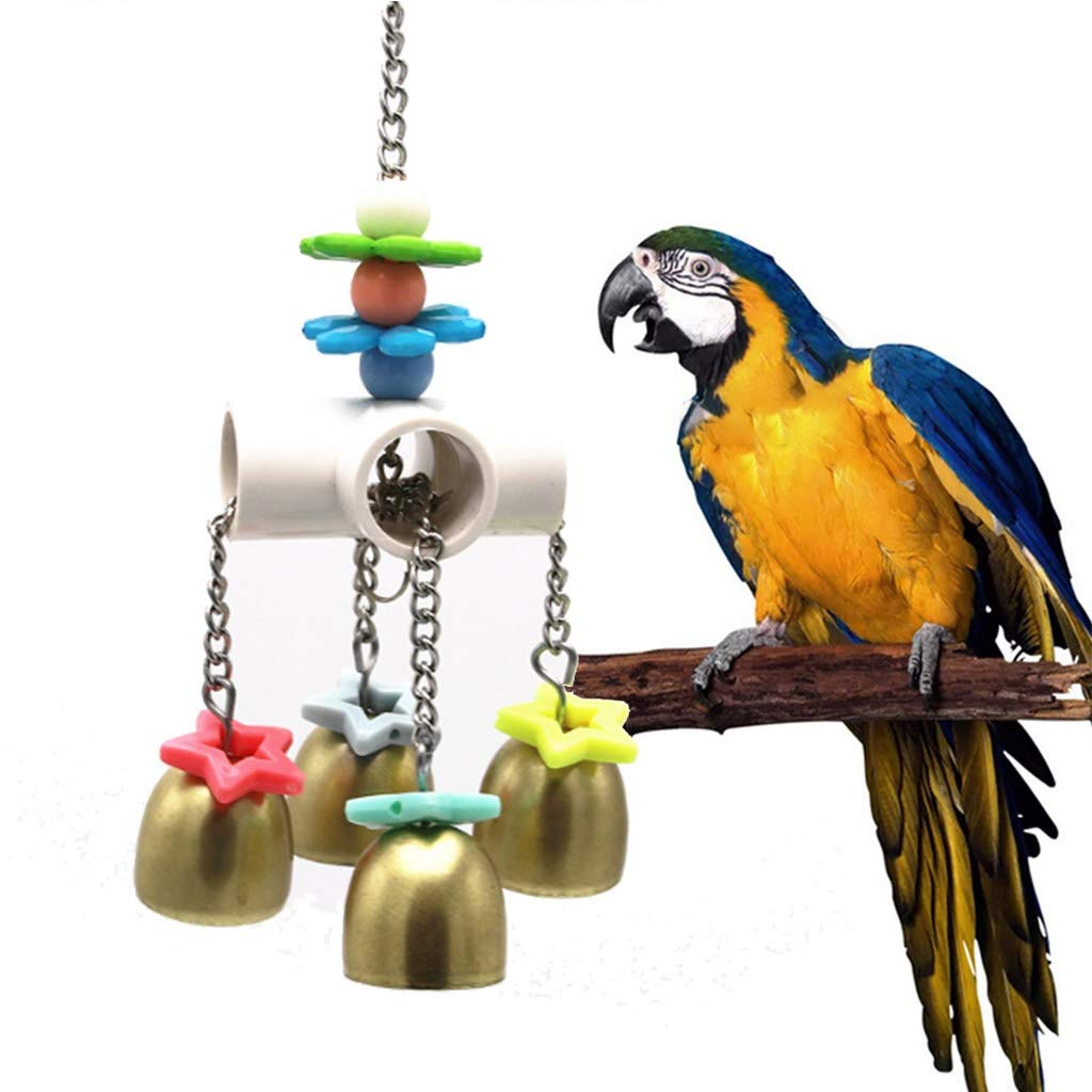 Bird toy Birds Hanging Stainless Steel Toy with Bells Pets Parrots Cage Funny Swing Toys Parrot Bird Swing and Chew Toy by Bird toy