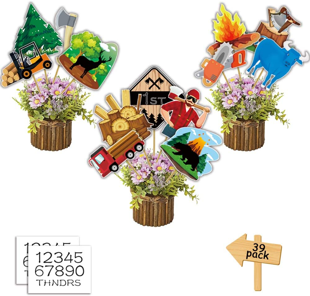 Lumberjack Party Supplies Baby Shower Birthday Decorations Buffalo Table Topper Centerpieces for Logging Theme Birthday Party Event Party Wall Room Decor
