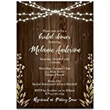 Bridal Shower Invitations, Rustic Wood, Brown, Ivory, Green, Leaves, Fall Wedding, Rustic Autumn Wedding Shower Invitation, Lights, Set of 10 Custom Printed Invites with Envelopes