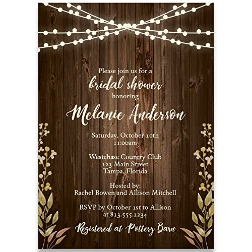 Wedding Fall Invitation Leaves (Bridal Shower Invitations, Rustic Wood, Brown, Ivory, Green, Leaves, Fall Wedding, Rustic Autumn Wedding Shower Invitation, Lights, Set of 10 Custom Printed Invites with Envelopes)