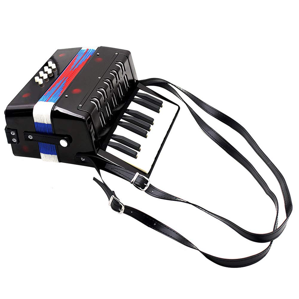Children Accordion Instrument,Christmas Kids 17-Key 8 Bass Mini Accordion Educational Piano Percussion Accordion Musical Toy Gift(Black) by Alomejor (Image #3)