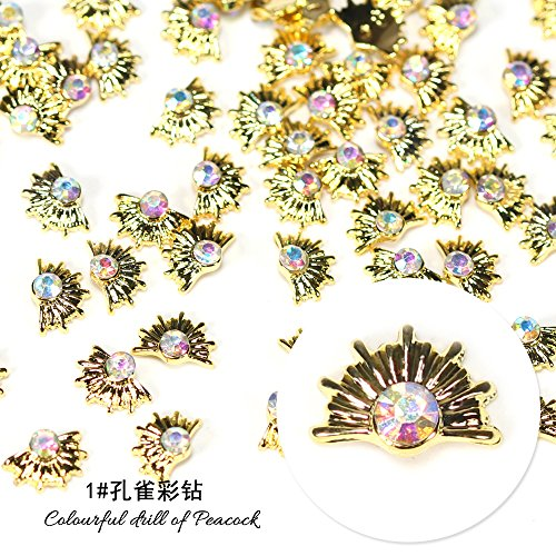 tal Drill Crystal Decorative Nail Art Rhinestones Star Alloy 3d Charms Decorations Glitter Nail Jewelry Manicure Accessories (1# colorful drill of peacock) ()