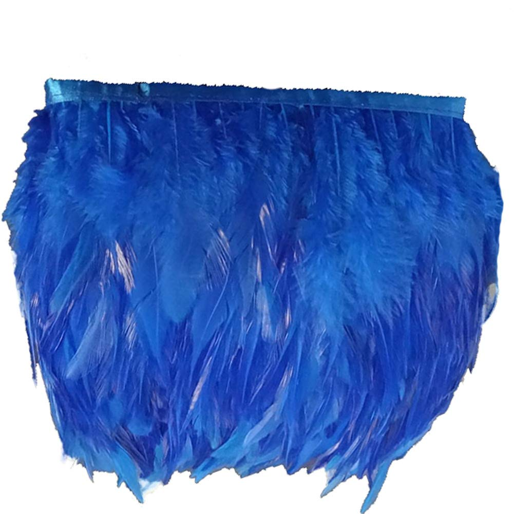 Green KOLIGHT Pack of 10 Yards Natural Rooster Hackle Feather Trim Fringe 4-6 in Width DIY Decoration