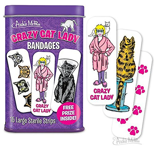 - Crazy Cat Lady Adhesive Bandages 15 ct Tin w/ Free Prize