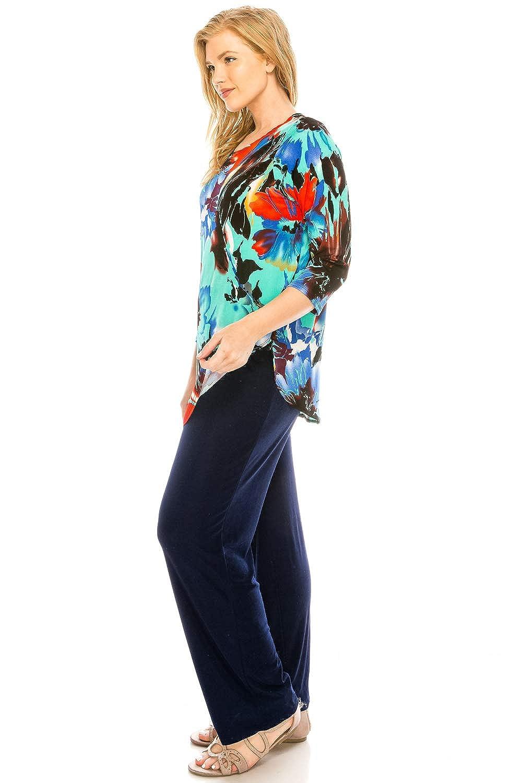 Jostar Womens Stretchy Rounded Bottom Tunic Top Quarter Sleeve Print