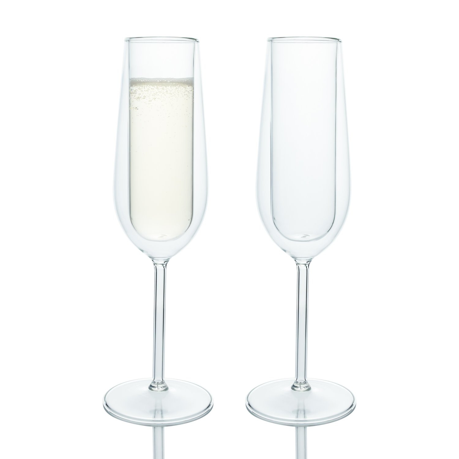 Elegant Classic Double Wall Champagne Flutes Glass, Set of 2, Special Occasions Toasting Wedding Engagement Party Verre Collection
