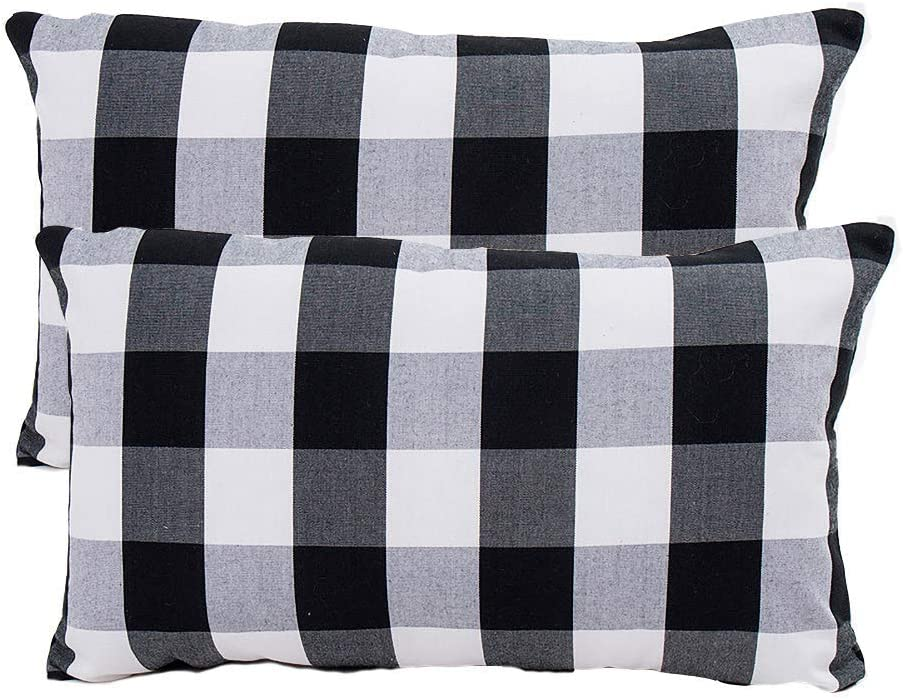 Winwinplus Set of 2 Black and White Buffalo Check Plaid Lumbar Oblong Rectangle Throw Pillow Covers Farmhouse Decorative Pillow Covers 12x20 Inch for Home Decor,Halloween Rectangle Pillow Covers