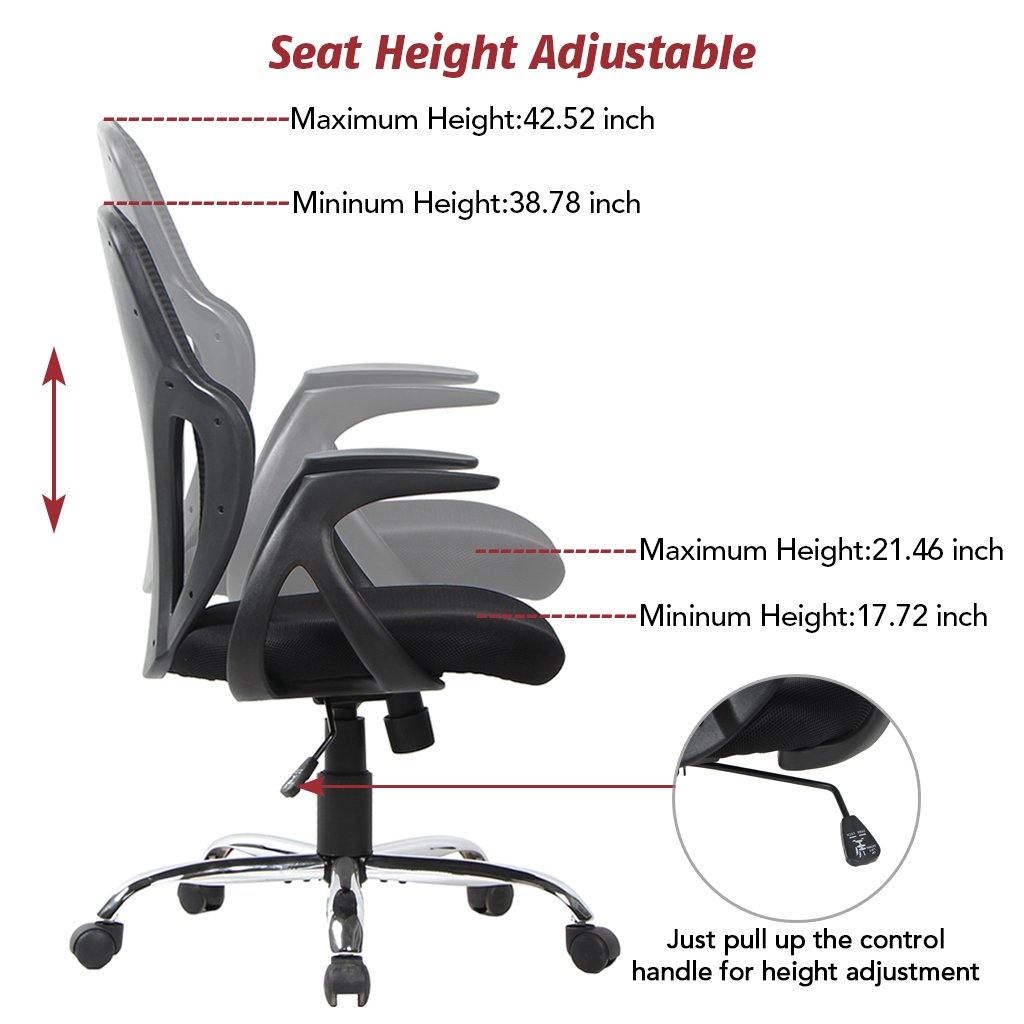 VIVA OFFICE Ergonomic Mesh Swivel Office Chair, Seat Height Adjustable  Black Ergonomic Mid Back Stylish Design