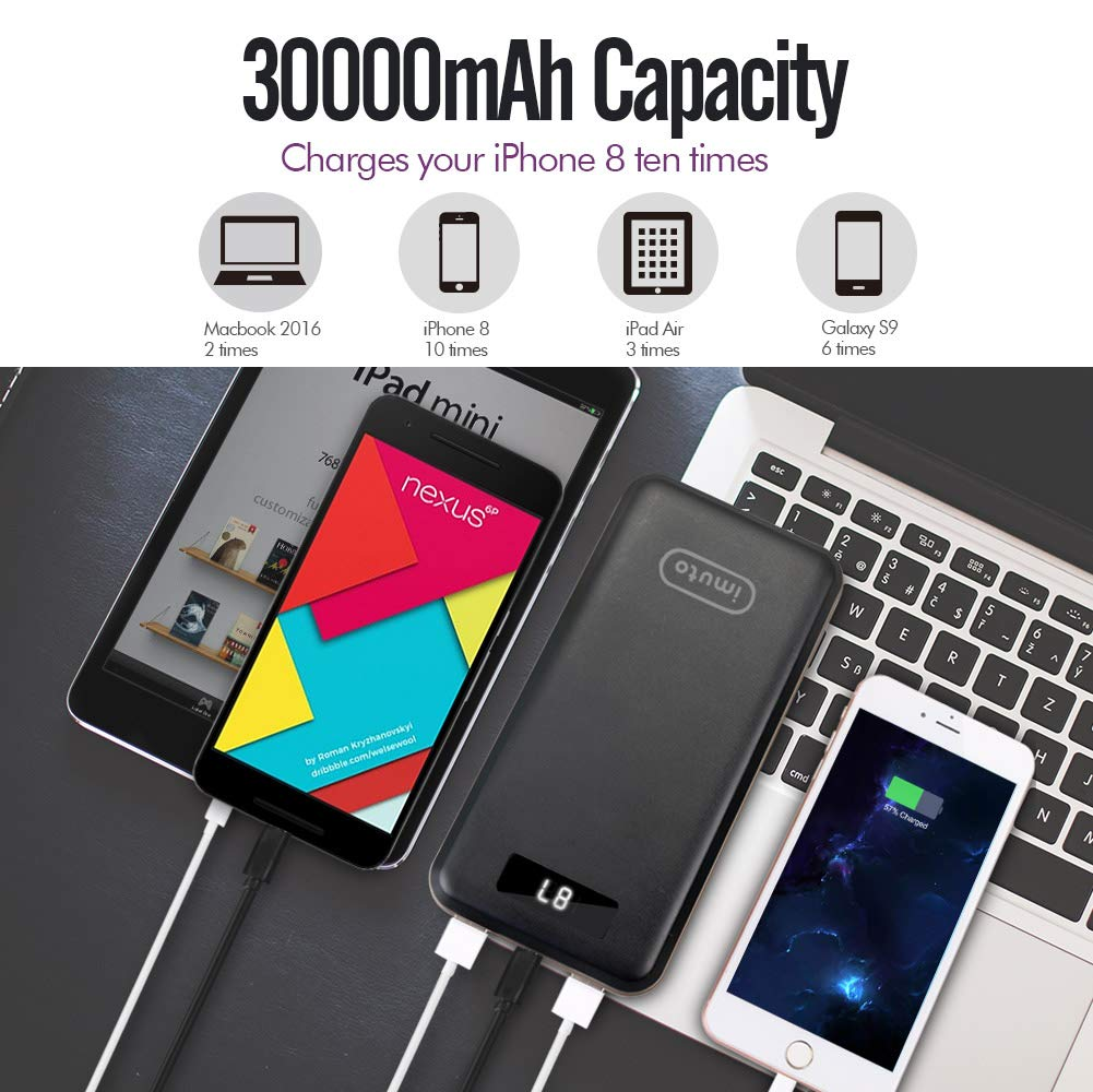 iMuto Portable Charger 30000mAh, Qualcomm Quick Charge 3.0 and USB-C Type-C Ports Power Bank External Battery Pack for Samsung Galaxy S9/S8, Note 8, iPhone X/8/7/6/Plus, iPad, Nintendo Switch and More by imuto (Image #4)