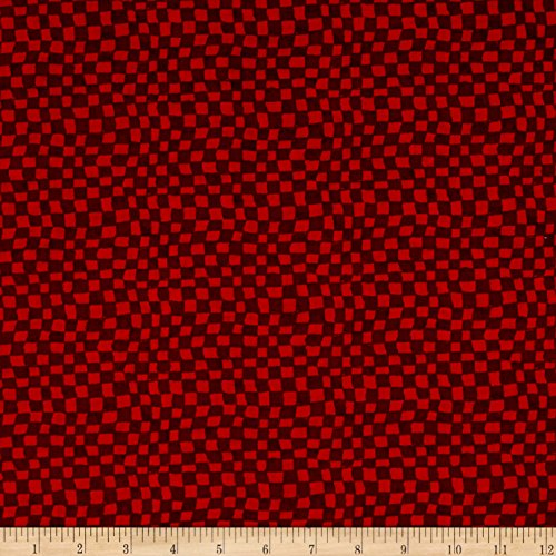 Snowman Christmas Checkerboard Red Fabric by The Yard