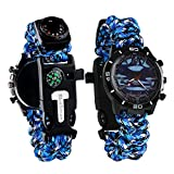 Survival Bracelet Watch, Men/Women Waterproof Emergency Survival Watch with Paracord Whistle Fire Starter