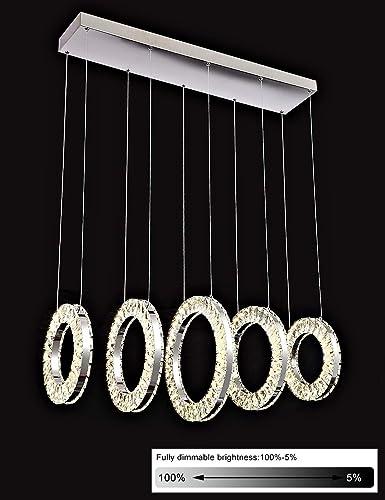 Liylan Modern Crystal Chandeliers Lighting Chrome LED 5 Ring Light Dimmable Pendant Lamp Fixtures 90W 4000K Natural White