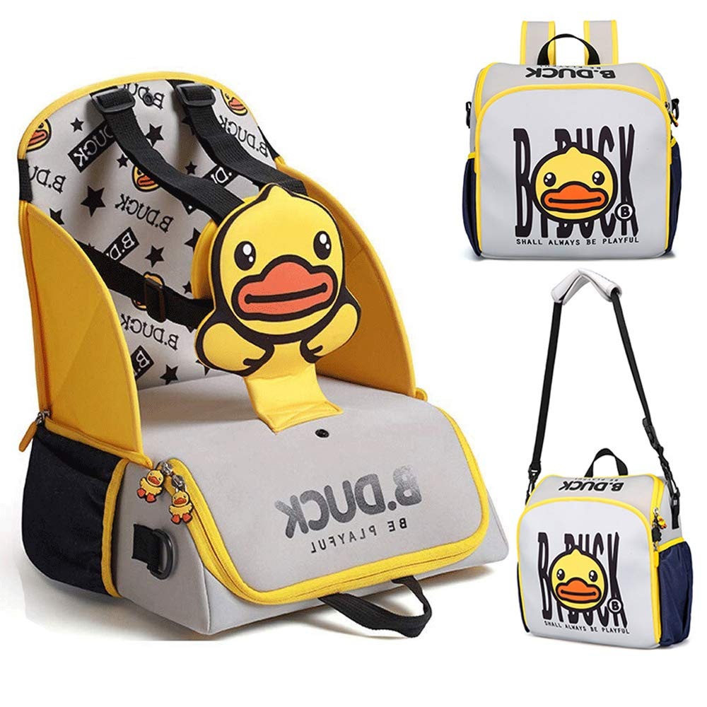 Travel Booster Seat for Family and Toddler Dining,COCOCKA Multi-Function Portable Baby Diaper Bag,5-Point Harness Travel Backpack -Fits Most Standard Size Chairs - Yellow by COCOCKA