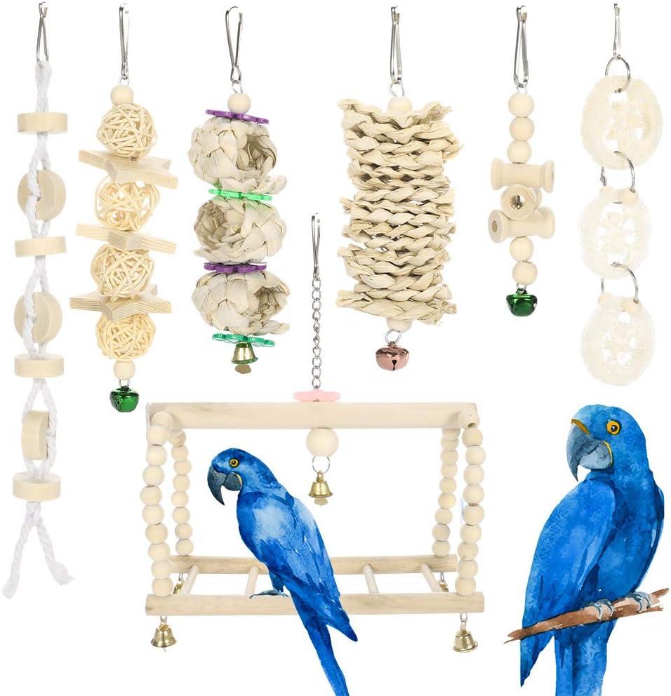 Thursday April 7 Unidades Juguetes para Pájaros Juguetes de Jaula de Pájaros de Campana Colgante de Madera Natural Adecuados para Pequeños Periquitos Cacatúas Conures Pinzones Periquitos Guacamayos