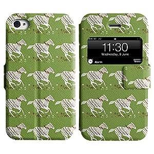 LEOCASE caballo blanco Funda Carcasa Cuero Tapa Case Para Apple iPhone 4 / 4S No.1005721
