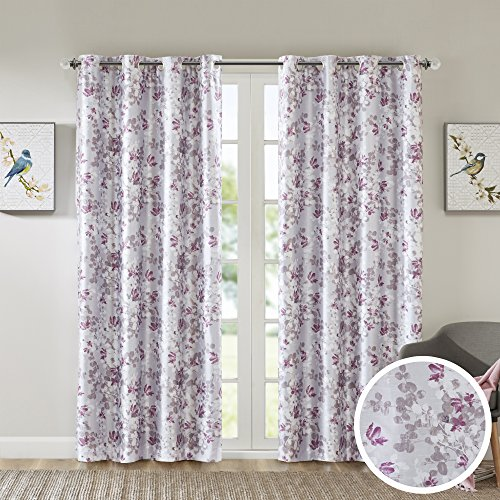 Comfort Spaces - Printed Floral Sumi-e Window Curtain Pair - Plum - 42x84 Inch Panel - Blackout Energy Saving Panels - Grommet Top - Include 2 (Floral Plum)