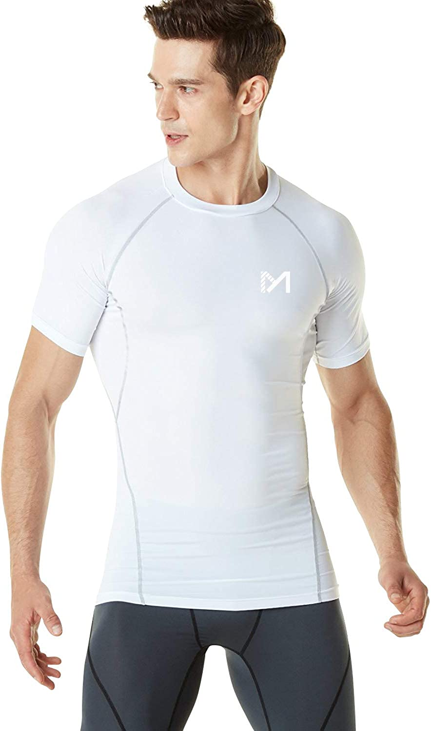 Men's Short Sleeve T-shirt Sports Compression Tight Fitness Base Layer Gym Top