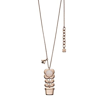 Orla Kiely Rose Gold Plated Flower Pot Pendant with Pink Glass of Length 70-75cm I9Ztp
