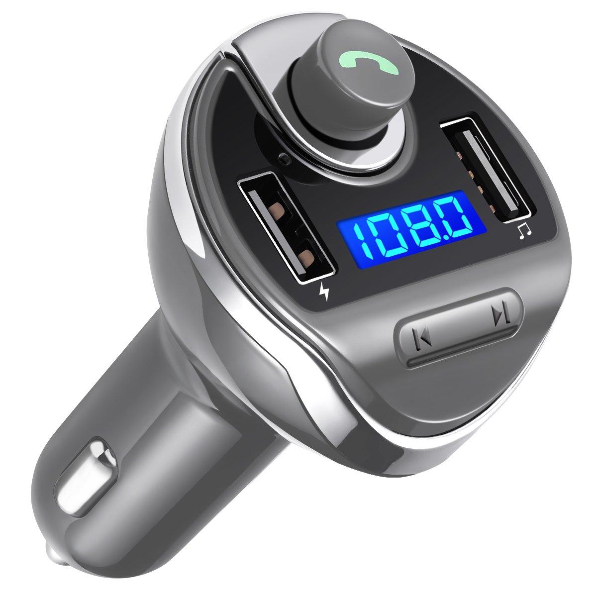 Criacr Transmetteur FM Bluetooth, Kit de Voiture Mains Libres, Chargeur Allume Cigare, Sans Fil Chargeur USB de Voiture, Lecteur MP3 avec Micro, 2 USB Port 5V/2.1A et 1A (Bleu) AMIR CP24D