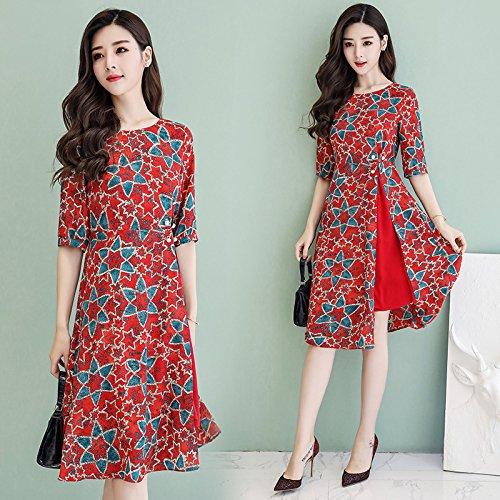 Media Red Corta Larga Xuanytp cintura De Encaje Temperamento Delgado Manga vestido Playa Vestido Largo vestido vestido ZfvA4