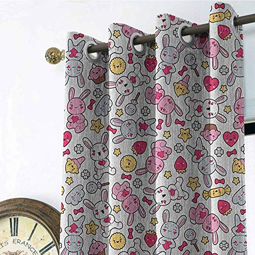 (Anime 3D Printed Pattern Gromets Curtain Bedroom Drapes, Japanese Cartoon Pattern for Kids Nursery with Happy Bunnies Cupcakes Hearts Flowers Design Darkening Curtains, Multicolor, W120 x L84 Inches)
