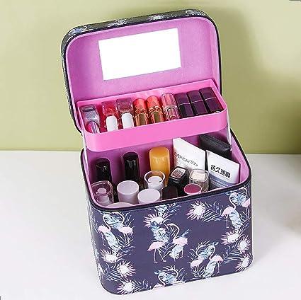 Caja de almacenamiento de maquillaje Estuche portátil para cosméticos Estuche para cosméticos de gran capacidad para mujeres, de gran capacidad, de múltiples capas,Q: Amazon.es: Belleza
