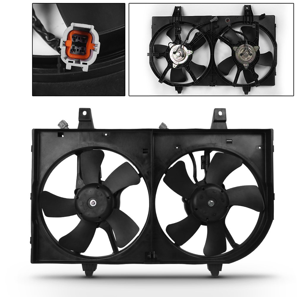 For NI3115113 Radiator AC A/C Condenser Dual Cooling Fan Assembly For 2000-2001 Maxima 00-01 I30
