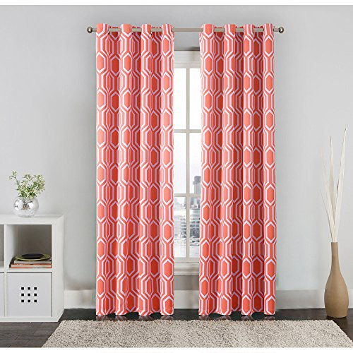Flamingo P Energy Efficient Honeycomb Insulated Blackout Drapes Printed Window Curtains for Winter, Grommet Top, Set of Two Panels, each 63 by 52- Coral (Printed Coral)