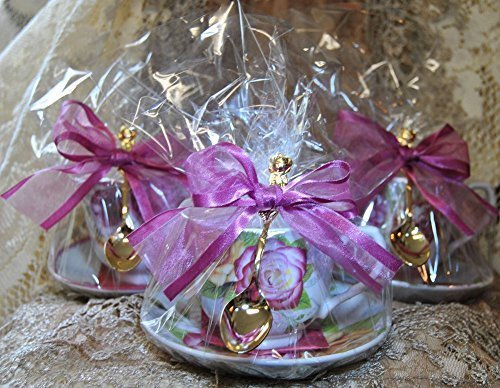 Set of 3 Assorted Rose Tea Theme Tea Cup (Teacup) Tea Party Favors with Tea Bag and Tea Spoon