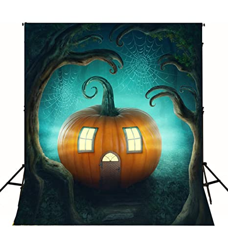 5x7 halloween backgrounds photography vinyl photo backdrop orange pumpkin lantern misty forest halloween backdrops kids seamless