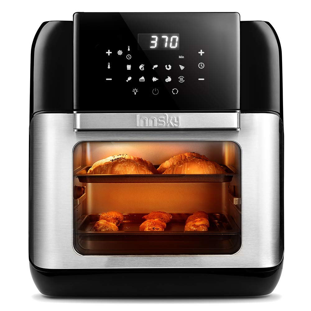 Innsky Air Fryer Oven, 10.6QT 1500W Electric Air Fryer with LED Digital Touchscreen 10-in-1 Countertop Oven with Dehydrator Rotisserie, 6 Accessories 32 Recipes 2 Years Warranty